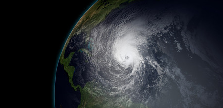 Extremely detailed and realistic high resolution 3d illustration of hurricane irma approaching the Caribbean Islands. Shot from space. Stock fotó