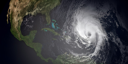 high winds: Extremely detailed and realistic high resolution 3d illustration of hurricane irma approaching the Caribbean Islands. Shot from space. Stock Photo