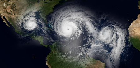 Extremely detailed and realistic high resolution 3d illustration of 3 hurricanes approaching the Caribbean Islands and Florida. Shot from Space. Elements of this image have been furnished by Nasa. Standard-Bild