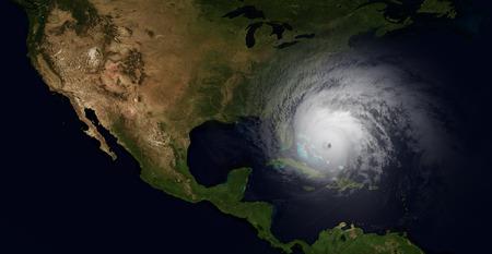ハリケーンの非常に詳細で現実的な高解像度のイラストがフロリダにバタンと閉まる。宇宙から撮影 写真素材