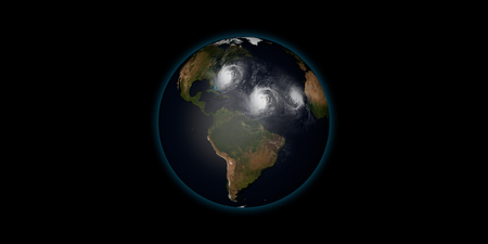 high: Extremely detailed and realistic high resolution 3d illustration of 3 hurricanes approaching Northeastern USA. Shot from space. Elements of this image are furnished by Nasa. Stock Photo