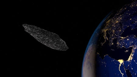 Extremely detailed and realistic high resolution 3d illustration of an interstellar asteroid Stock Photo