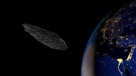 Zeer gedetailleerde en realistische 3D-afbeelding met hoge resolutie van een interstellaire asteroïde Stockfoto