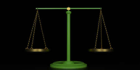 Extremely detailed and realistic high resolution 3D illustration of a libra  scale