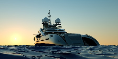 Extremely detailed and realistic high resolution 3D image of a luxury super yacht with a helicopter, a swimming pool and a jacuzzi