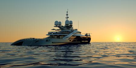 Extrem detailliertes und realistisches hochauflösendes 3D-Bild einer Luxus-Superyacht mit einem Hubschrauber, einem Swimmingpool und einem Whirlpool