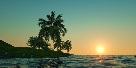 Extremely detailed and realistic high resolution 3D image of a Super Yacht approaching a tropical Island with palms