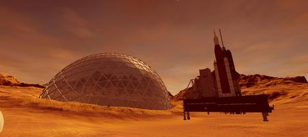 Extremely detailed and realistic high resolution 3d illustration of a colony on mars like planet.