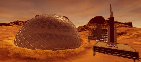 Extremely detailed and realistic high resolution 3d image of a colony on mars like planet