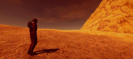 Extremely detailed and realistic high resolution 3d image of a human on a mars like planet Stock Photo