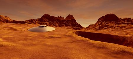 Extremely detailed and realistic high resolution 3D image of an UFO Flying Saucer on a Mars like planet