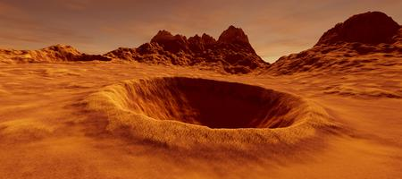 Extremely detailed and realistic high resolution 3D image of a big crater on mars like landscape