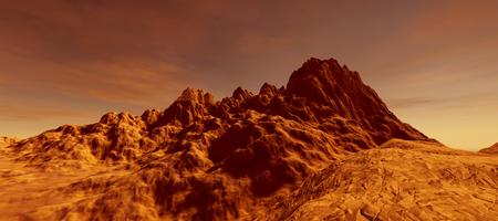 Extremely detailed and realistic high resolution 3D illustration a Mars like landscape