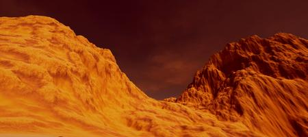 Extremely detailed and realistic high resolution 3D image a Mars like landscape Stock Photo