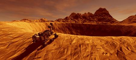 Extremely detailed and realistic high resolution 3D image of Mars Exploration Vehicle Curiosity on Mars like planet Stock Photo