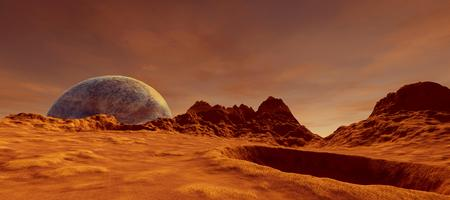 Extremely detailed and realistic high resolution 3D image of a Mars like Exoplanet Stock Photo