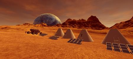 Extremely detailed and realistic high resolution 3d image of human astronauts colony on Mars like Exoplanet