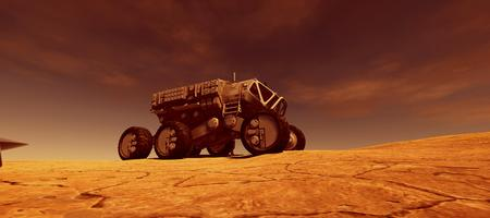 Extremely detailed and realistic high resolution 3d image of a space rover vehicle on mars like landscape Stock Photo