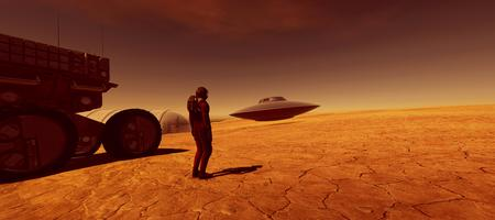 Extremely detailed and realistic high resolution 3d image of an astronaut on Mars like planet with a flying saucer UFO in the background Stock Photo