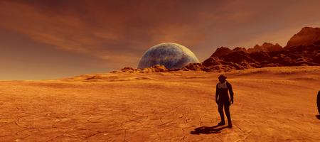 Extremely detailed and reailistic high resolution 3d image of an astronaut on Mars like Exoplanet Stock Photo