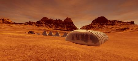 Extremely detailed and realistic high resolution 3d image of a human colony on Mars Stock Photo