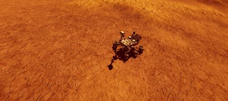 Extremely detailed and realistic high resolution 3d image of Mars exploration vehicle curiosity searching for life on martian landscape