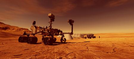 Extremely detailed and realistic high resolution 3d image of Mars exploration vehicle curiosity with human colony in background on Mars like planet Stock Photo