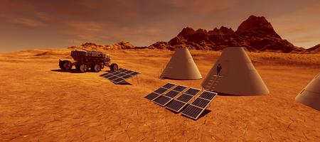 Extremely detailed and realistic high resolution 3d image of a human colony on Mars like planet