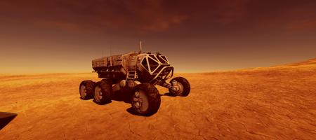 Extremely detailed and realistic high resolution 3d image of a Space Exploration Rover Vehicle on Mars like Planet Stock Photo