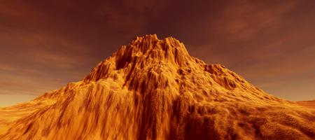 Extremely detailed and realistic high resolution 3d image of martian like landscape Stock Photo