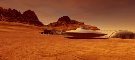 Extremely detailed and realistic high resolution 3d image of an Alien Ufo Flying Saucer Space Ship on Mars like Planet with Colony in Background