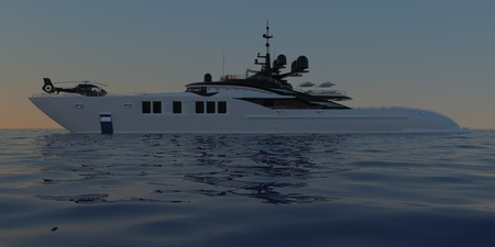 Extremely detailed and realistic high resolution 3D illustration of a Super Yacht approaching a tropical Island with palms - Illustration Banco de Imagens
