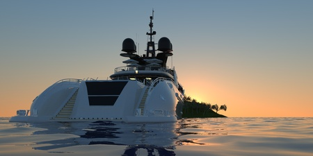 Extremely detailed and realistic high resolution 3D illustration of a Super Yacht approaching a tropical Island with palms - Illustration Stock fotó