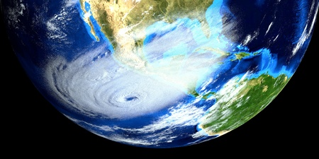 Extremely detailed and realistic high resolution 3d image of a Hurricane approaching us east coast. Shot from space. 스톡 콘텐츠