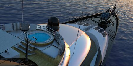Luxury Super Yacht Extremely Detailed and realistic High Resolution 3D image