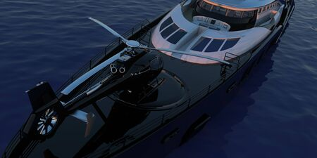 Helicopter on Luxury Super Yacht Extremely Detailed and realistic High Resolution 3D image