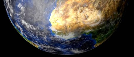 Extremely detailed and realistic high resolution 3d image of a Hurricane. Shot from space.