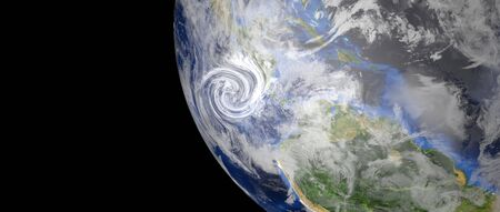 Imagen 3d de alta resolución extremadamente detallada y realista de un huracán que se acerca a américa central. Disparo desde el espacio. Foto de archivo