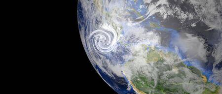 Niezwykle szczegółowy i realistyczny obraz 3d w wysokiej rozdzielczości przedstawiający huragan zbliżający się do Ameryki Środkowej. Strzał z kosmosu. Zdjęcie Seryjne