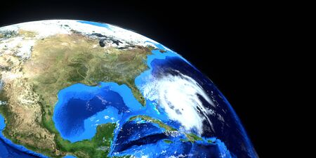 Extremely detailed and realistic high resolution 3d image of Hurricane Dorian approaching the US east coast. Shot from Space.