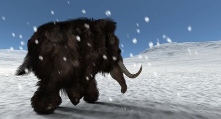 Extremely detailed and realistic high resolution 3d image of a mammoth
