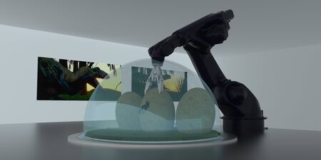 Extremely detailed and realistic high resolution 3d image of a dinosaur laboratory featuring a robotic arm and artificially produced velociraptor eggs from the jurassic period 免版税图像