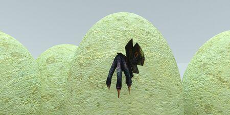 Dinosaur hatching from his velociraptor nest full of dinosaurs eggs