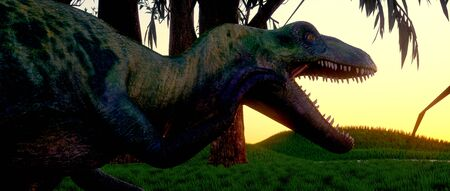 Extremely detailed and realistic high resolution 3d image of an extinct dinosaur during the jurassic period
