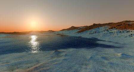 Water on Mars like Planet Shot from Space extremely detailed and realistic 3d image of Martian landscape Stock fotó