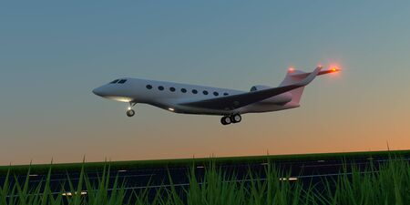Luxury business jet during landing or takeoff on runway. Banco de Imagens