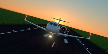 Luxury business jet during landing or takeoff on runway. Extremely detailed and realistic high resolution 3d image Banco de Imagens