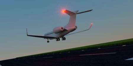 Luxury business jet during landing or takeoff on runway