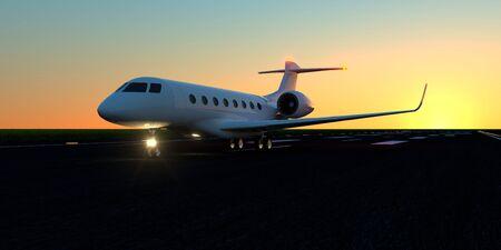 Luxury business jet on runway.