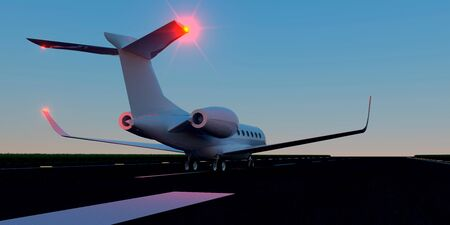 Luxury business jet on runway